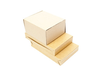 three brown boxs on white isolated background.