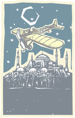 Hagia Sophia Airplane Night