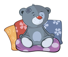 The stuffed toy bear cub and pillows cartoon