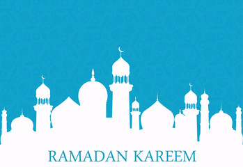 Arab whites mosque on blue background. Ramadan Kareem