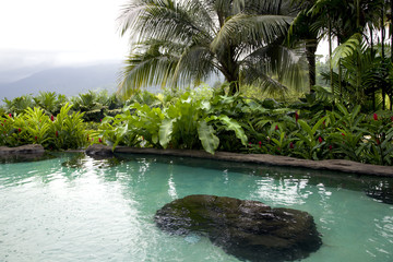 Pool with hot thermal water in Costa Rica