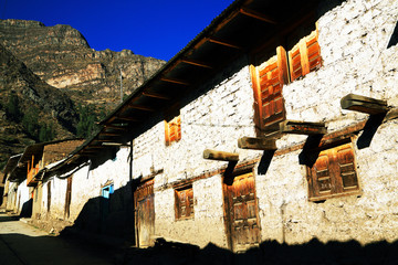 Mountain village in Cordiliera Huayhuash, Peru, South America