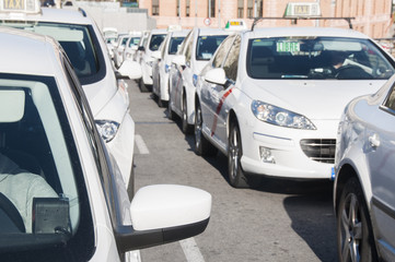 Lots of white taxis in Madrid, Spain