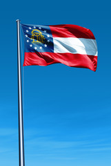 Georgia (USA) flag waving on the wind