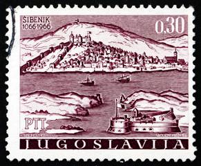 Postage stamp Yugoslavia 1966 Medieval View of Sibenik