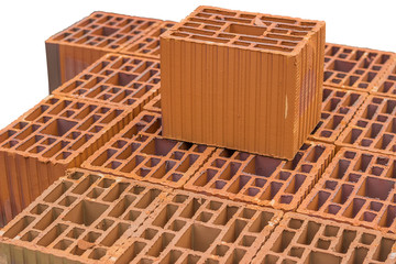Stacked orange hollow clay block for building construction 2