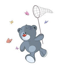 The stuffed toy bear cub and butterfly net cartoon