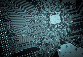 Printed circuit board. High technology background.