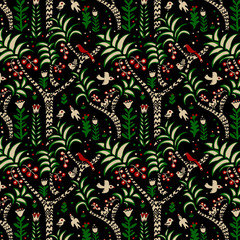 Palms and birds seamless pattern
