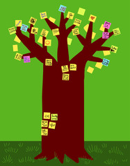 Tree with post it