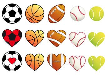 football,soccer, basketball, tennis balls and hearts, vector set