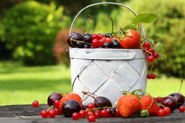 Fresh fruit in a basket in the garden