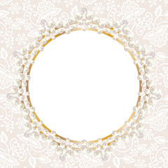 pearl frame on white lace background