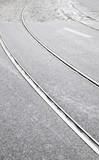 Tram tracks on a street in Lisbon