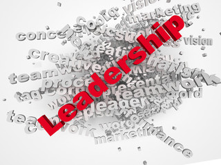 3d Leadership and teamwork word cloud illustration. Word collage
