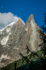 View of Dru Peak in Chamonix, Alps, France