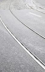 Tram tracks on a street in Lisbon
