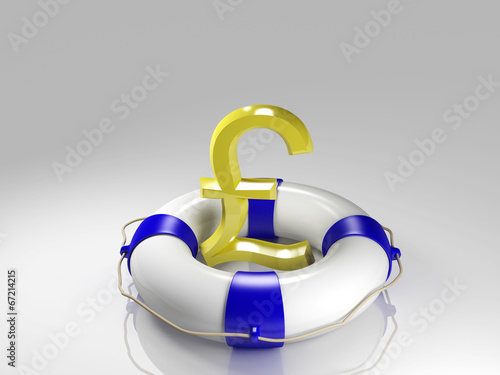canvas print picture British pound sign in the lifebuoy
