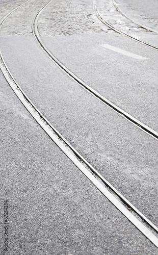 Tram tracks on a street in Lisbon - 67214284