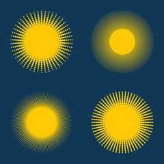 Set of suns, vector illustration