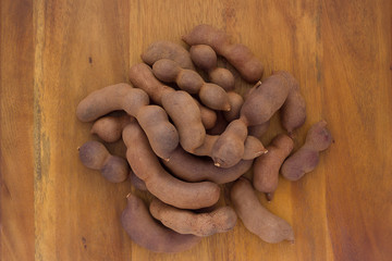 Group of tamarind pods