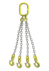 Cargo strapping: metal chain with crane hook