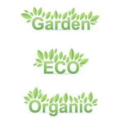 Garden ECO Organic sign with green leafs