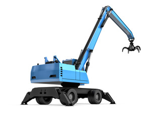 Crane with mechanical hand on a white background