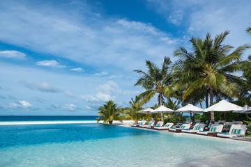 Perfect tropical island paradise beach and pool