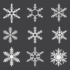 Set of snowflakes, geometric shapes, vector