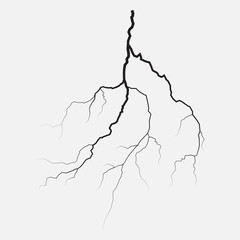 Thunder lighting isolated, silhouette, vector illustration