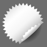 Blank, white round promotional sticker poster