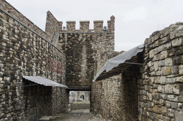 View an inside of fence and entrance in the Tsarevets Fortress