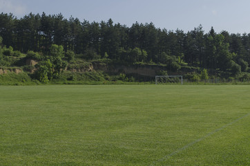 Natural green trimmed grass field for football