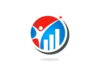 business finance graph people logo