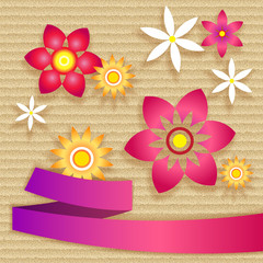 Card with simple flowers and ribbon