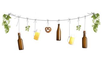 Bierflaschen an der Leine