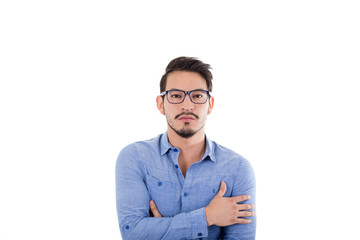 young hispanic man with blue shirt and glasses