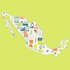 Map of Mexico with technology icons