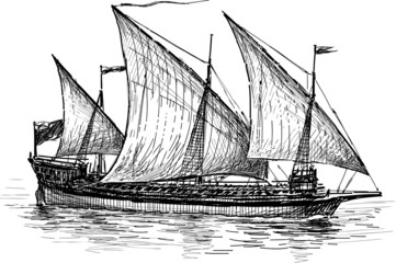 three-masted sailing ship