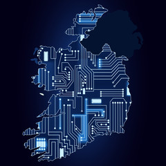 Map of Ireland with electronic circuit