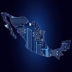 Map of Mexico with electronic circuit