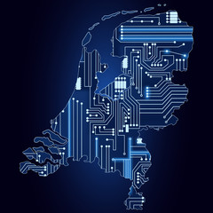 Map of Netherlands with electronic circuit