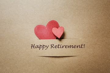 Happy Retirement message with hearts