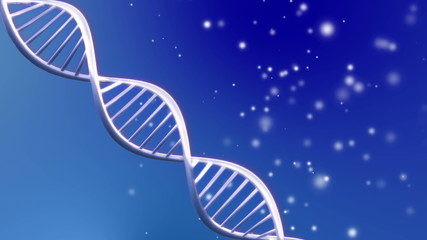 Blue background animation of looping animated dna molecule
