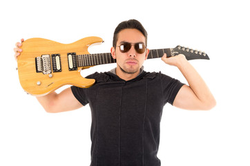 latin young musician with electric guitar