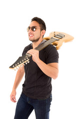 hispanic young man holding electric guitar