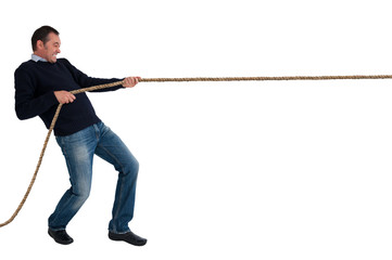 man tug of war pulling rope isolated
