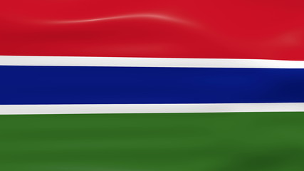 Waving Gambia Flag, ready for seamless loop.