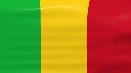 Waving Mali Flag, ready for seamless loop.